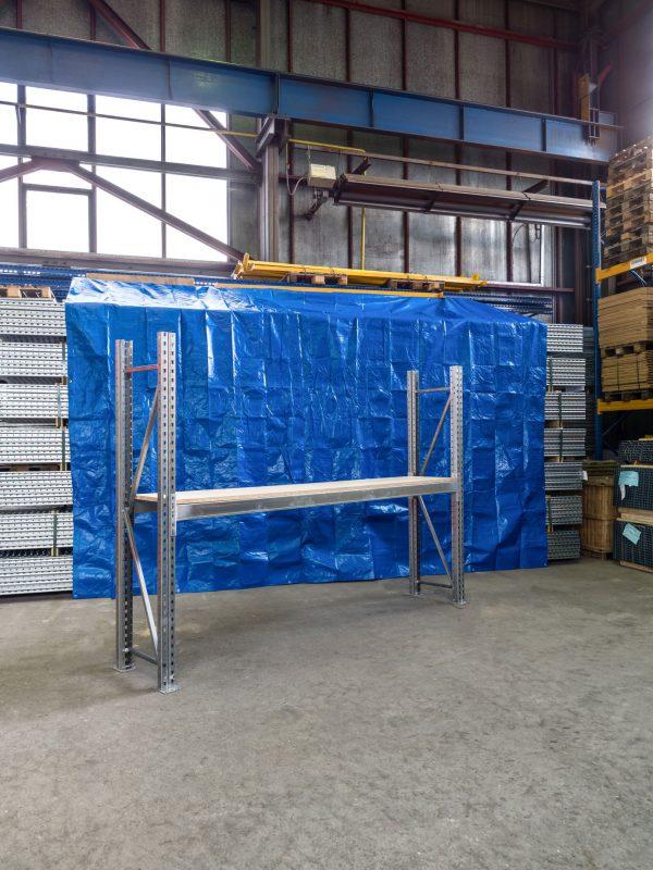 Použitý základní paletový s DTD 22 mm regál, 2000x2700x500 mm, 1 police