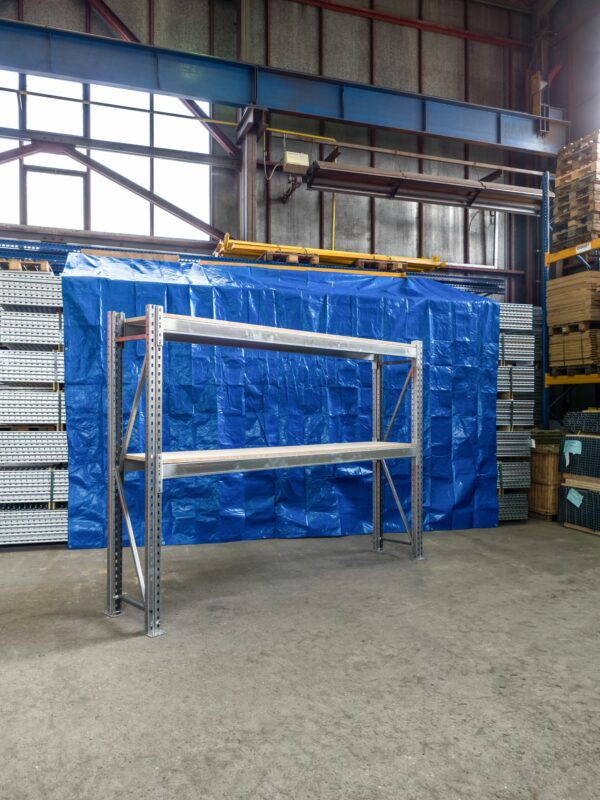 Použitý přídavný paletový s DTD 22 mm regál, 2000x2700x500 mm, 2 police