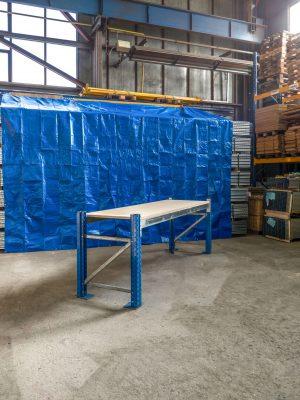 Použitý pracovní stůl s DTD 22 mm regál, 950x1825x770 mm, 1 police