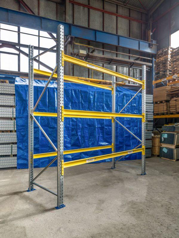 Použitý základní paletový regál, 3000x2700x1100 mm, 3 police