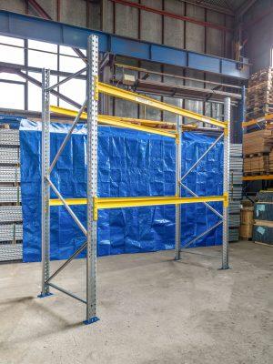 Použitý přídavný paletový regál, 3000x2700x1100 mm, 2 police