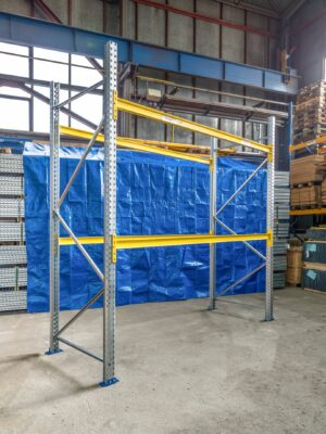 Použitý základní paletový regál, 3000x2700x1100 mm, 2 police